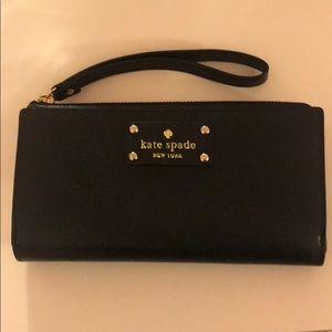 Kate Spade black with pink interior wristlet